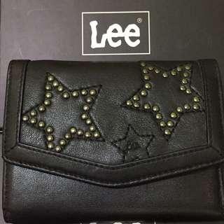Lee 真皮 星星 卯釘 黑色 皮夾 短夾