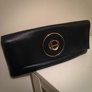 Oroton Black Leather Clutch Bag