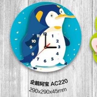 原價1453元 3d木質拼圖益智模型兒童房創意卡通掛鐘系列靜音