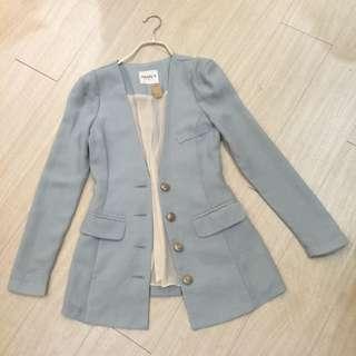 正韓特賣,淺藍合身雪紡西裝外套