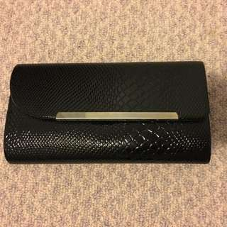 Black Croc Patent Clutch
