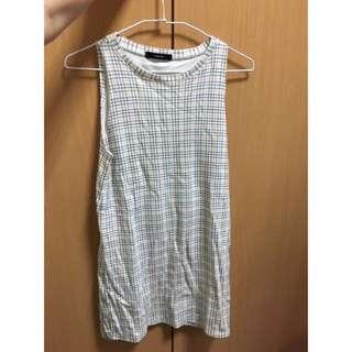 來自泰國的無袖氣質連身格紋背心裙
