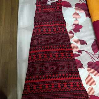 (Free Postage) Black And Red Aztec Dress