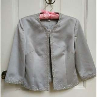 Hand Beaded Vintage Silver Silk Crop Jacket