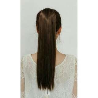 綁帶直髮馬尾假髮咖啡棕