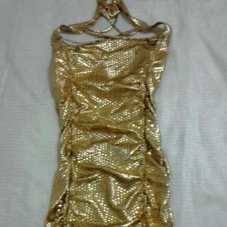 Mini Symphony Dress Gold Size 8