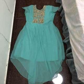 Turquoise Anarkali Style Dress