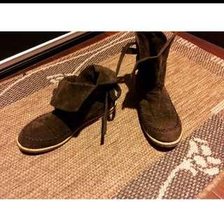 麂皮感短靴