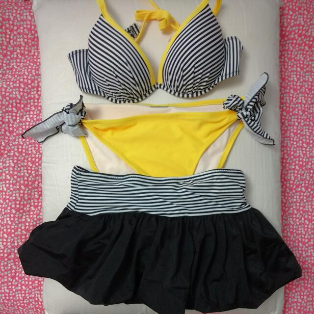3 Piece Bikini: Push Up Top With Bottom And Skirt Too