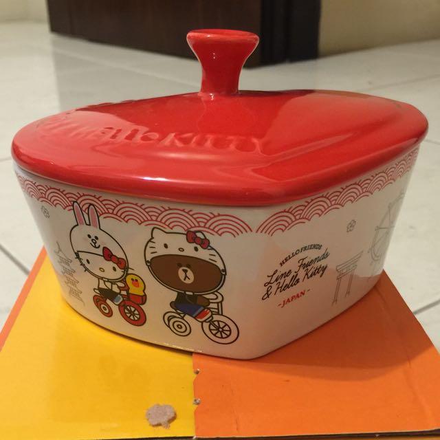 7-11 熊大+kitty 心型款 陶瓷大碗