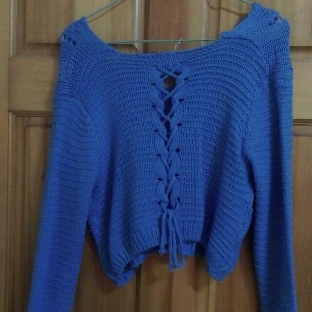 藍色短版針織衫