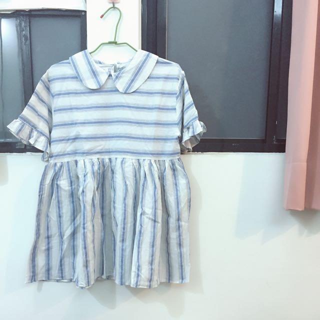 條紋短袖洋裝