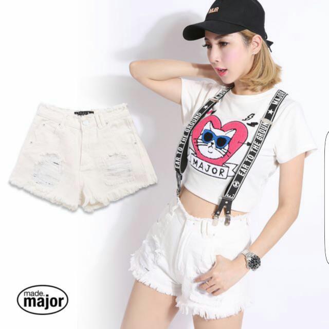 收 major Mjr 白色牛仔褲