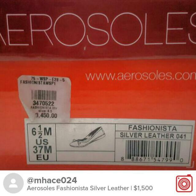 Repriced Aerosoles Fashionista Silver Leather Flats