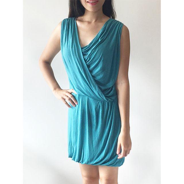 Blue Green Sleveless Draped Dress