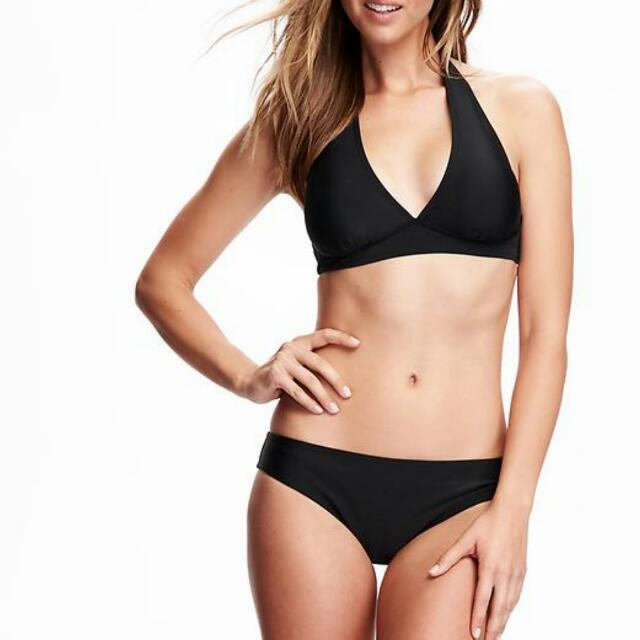 2bad0b4513 BN Old Navy Black Halter Bikini Top And Ruched Bottom Full Set ...