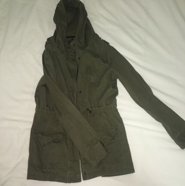 Cotton On Khaki Green Hooded Anorak Size 12 Good Condition