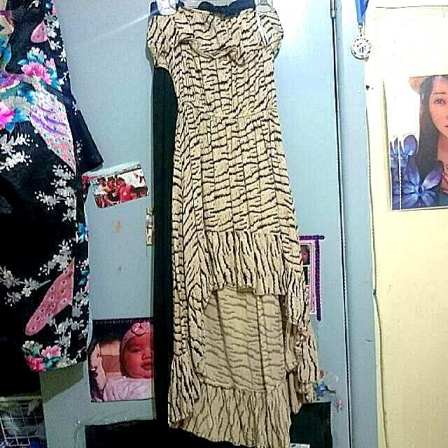 Cream Strapless High-low Hem Dress