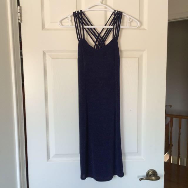 Crossback Navy Blue Bodycon Dress
