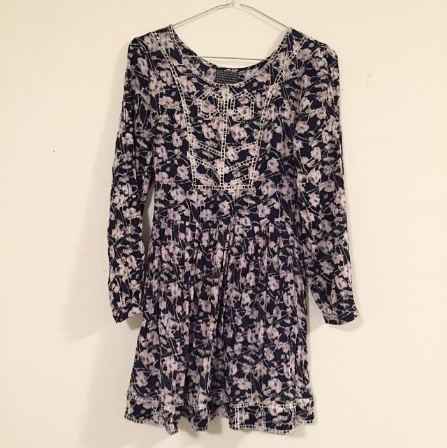 Dark Floral Long Sleeve Dress