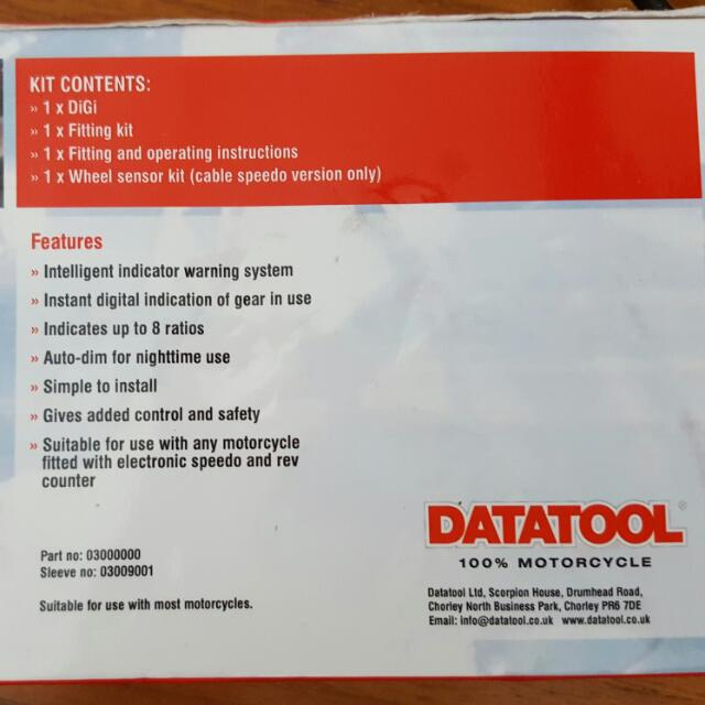 DATATOOL Digital Gear Indicator For Motorcycle