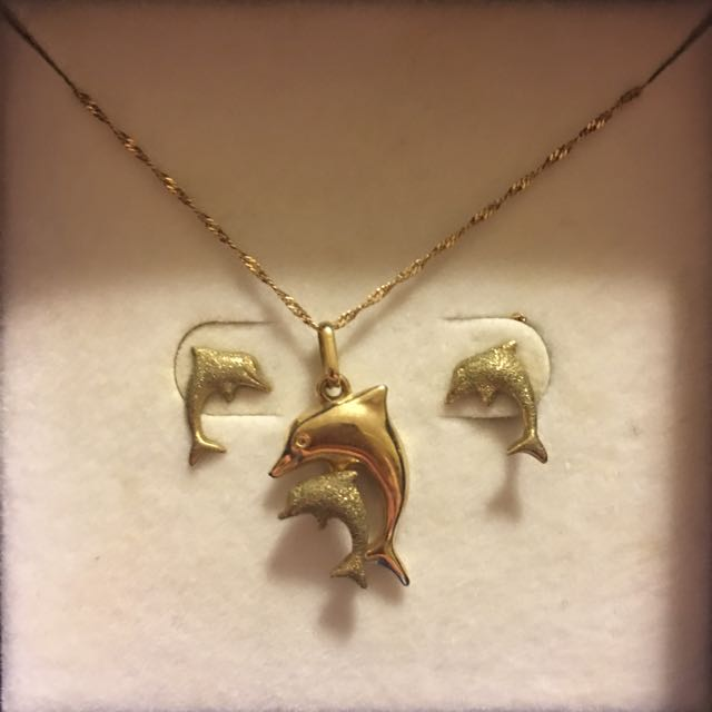 Goldmark Dolphin Earrings And Necklace Set