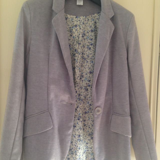 Grey Jacket With Floral Lining