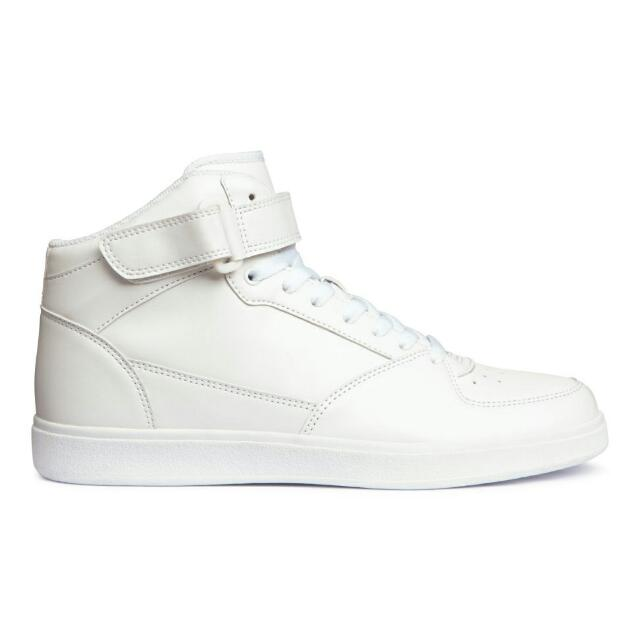 H\u0026M White High Top Sneakers, Men's
