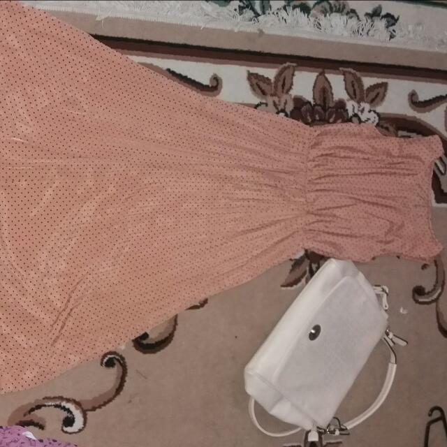 Jual Dress Coklat Motif Polka