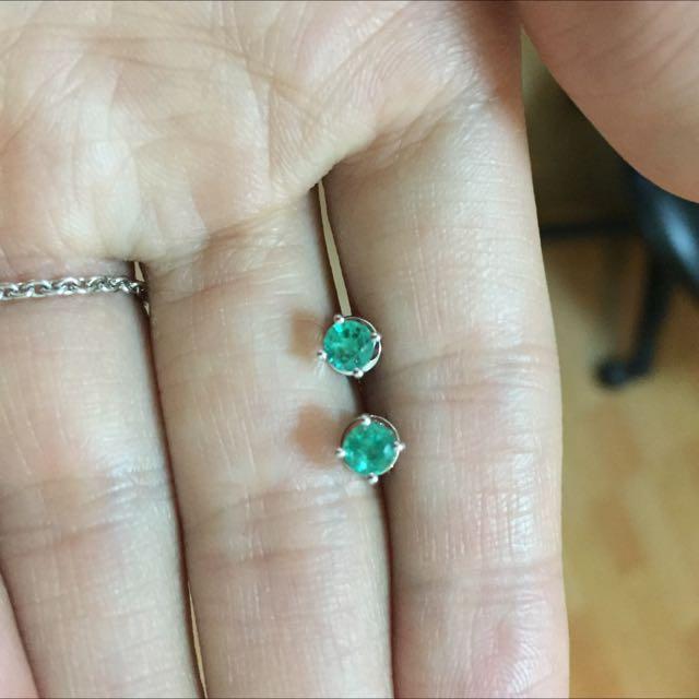 (銀樓)祖母綠全手工白k耳環