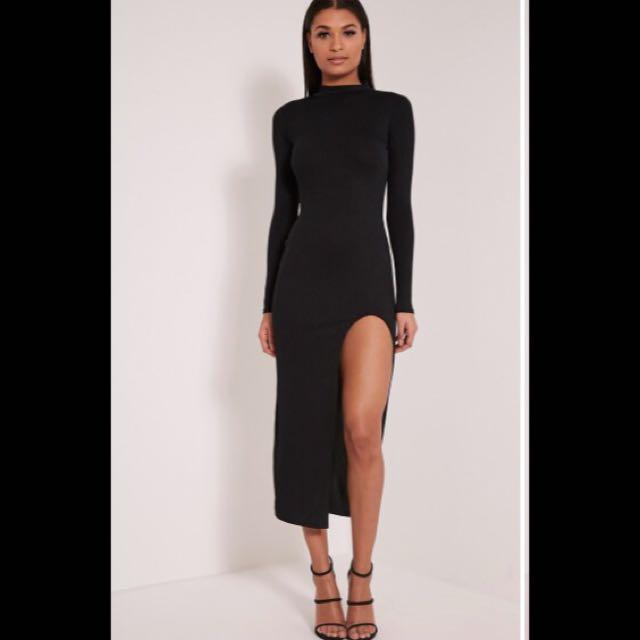 Long Sleeve Turtleneck Midi Dress With Thigh Split