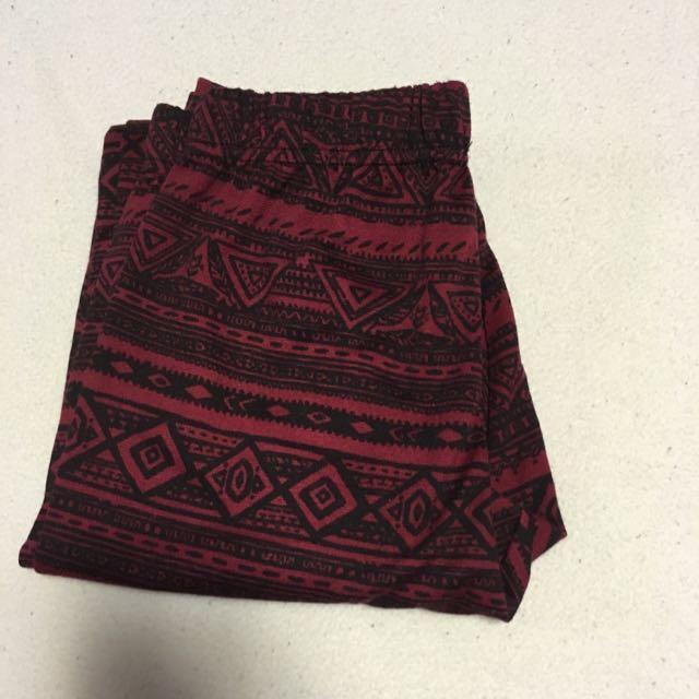Red And Black Aztec Print Leggings