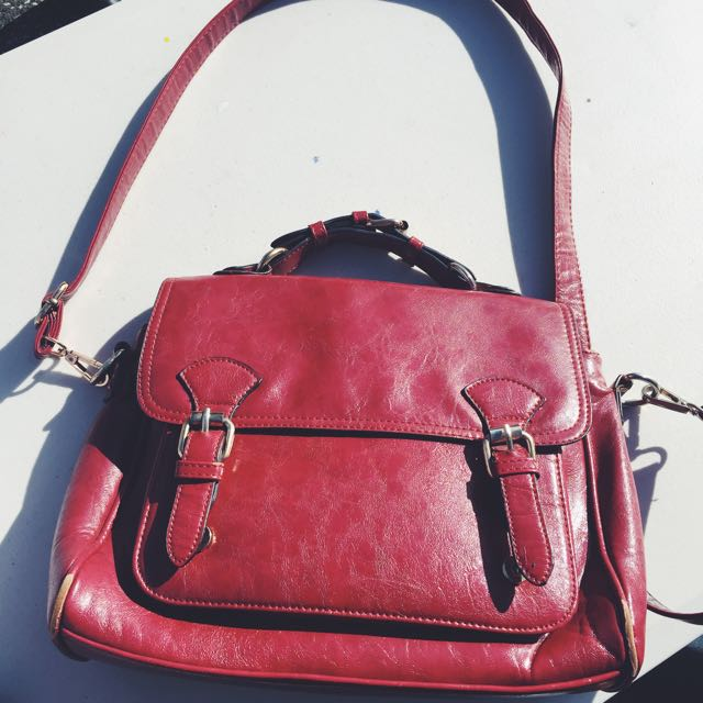 Red Faux Leather Handbag