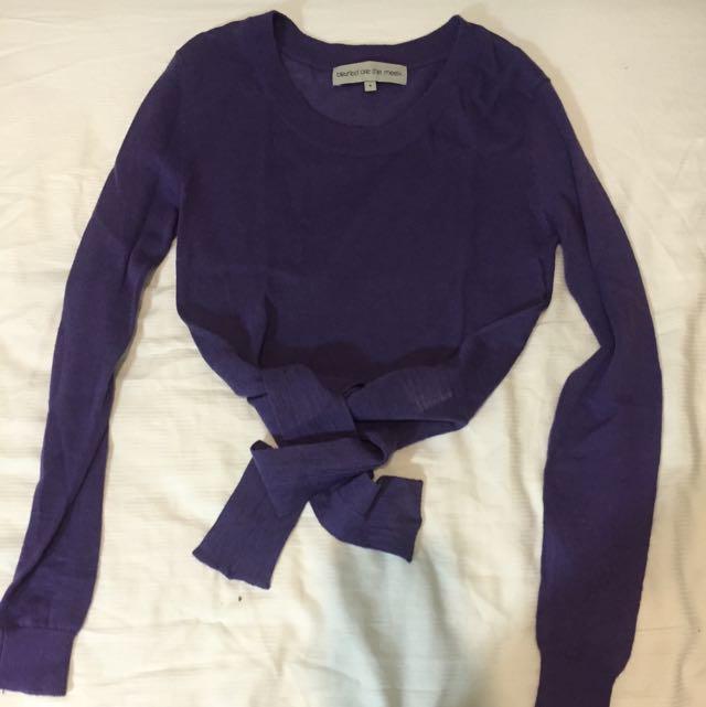 Royal Purple Tie-hem Crop Jumper