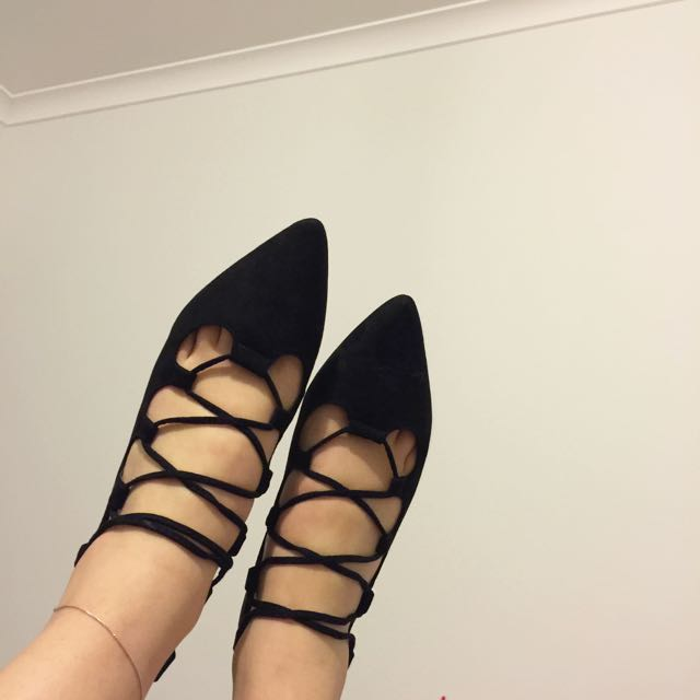 Rubi Black Suede Lace-up Flats