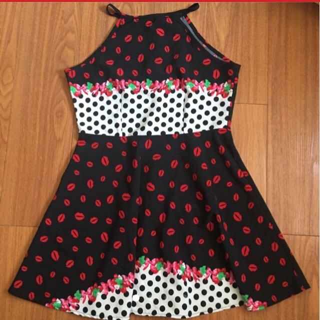 SALE Red Lips Prints Dress