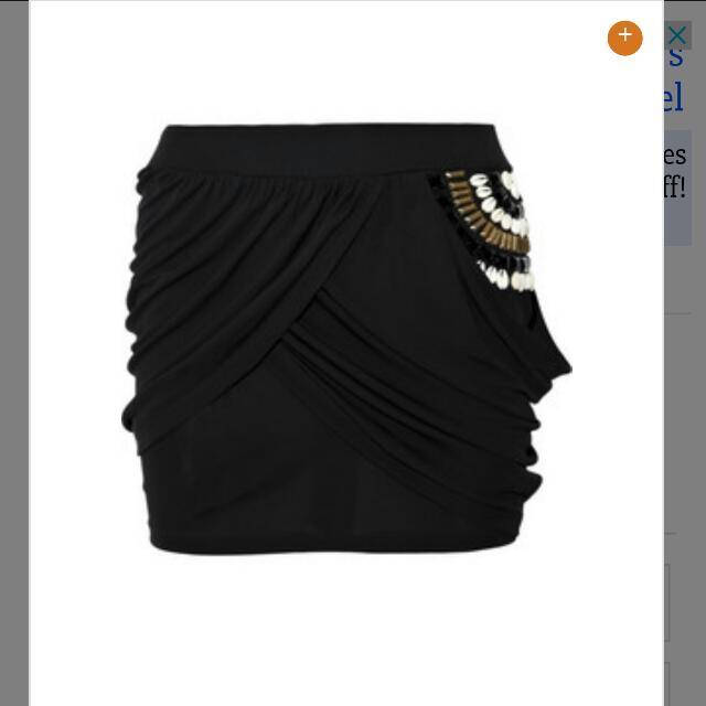 Sass & Bide Asymetrical drapes Jersey Black Skirt Size 2