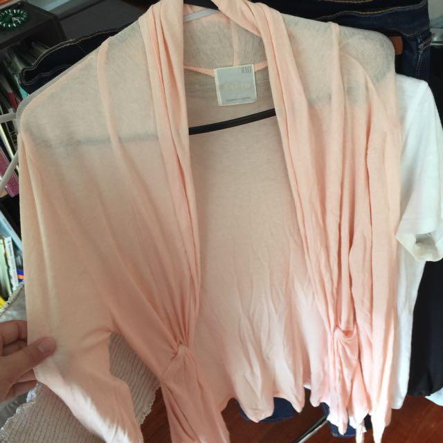Shilla Cardigan- apricot pink, size 10