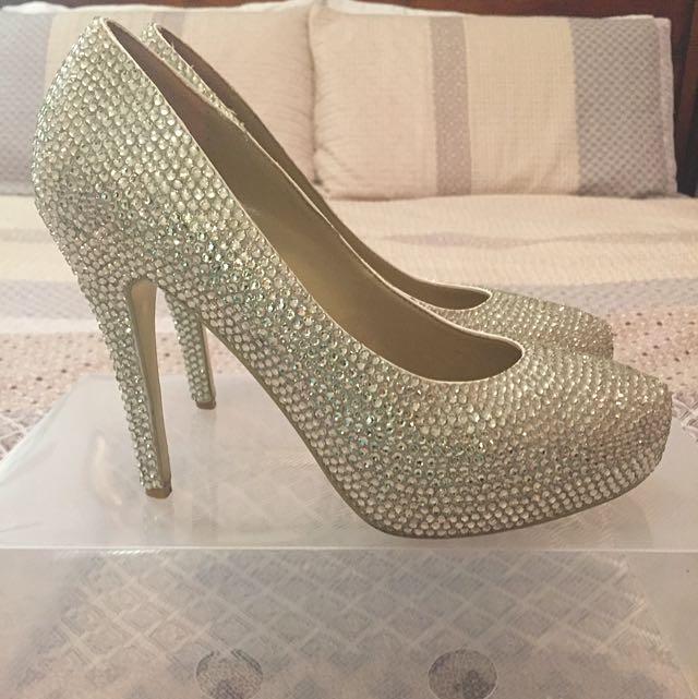 Silver Diamanté Heels Size 9(40)