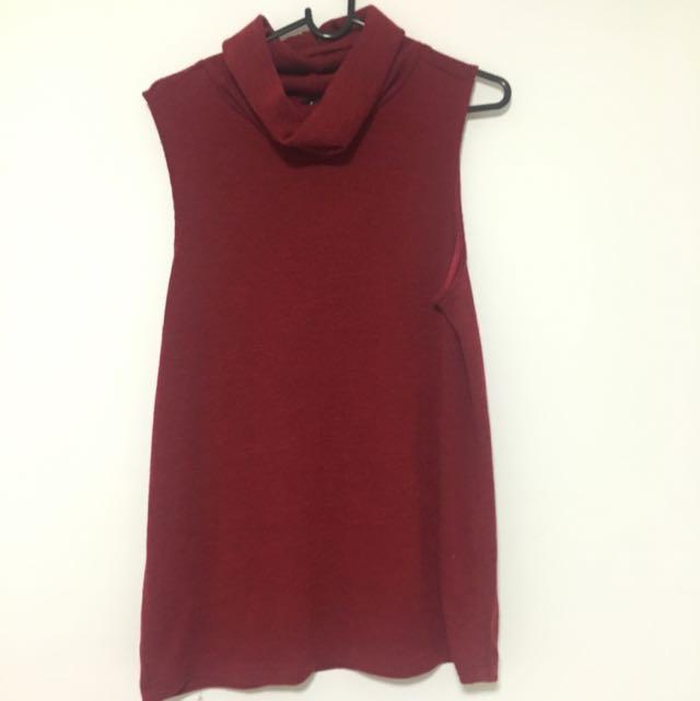 Bardot Red Sleeveless Turtleneck Top Size 10