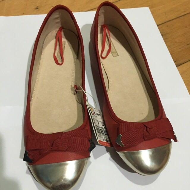 (免運)全新ZARA可愛紅色蝴蝶結平底鞋