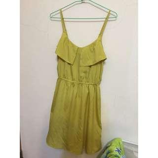 H&M 細肩可調芥末黃洋裝EUR:34 160/80A