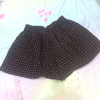 冬季滿版圓點附內襯鬆緊帶褲裙