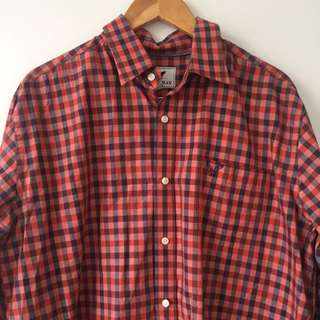 Checkered Men's Long Sleeve Button Up Size L