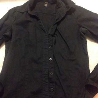 Xs Black Button Up Shirt Fits Like Small