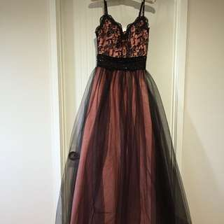 Salmon pink and black formal dress