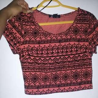 F21 Peach And Black Patterned  Crop Top