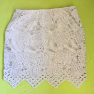 White Lace Skirt Size 8