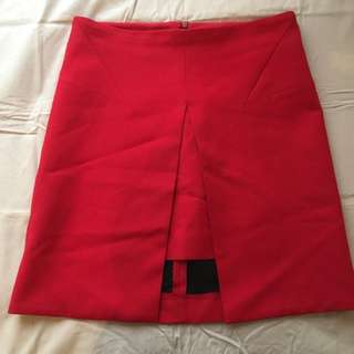Zara Red Skirt Size Small + Denim Crop Top Size 6