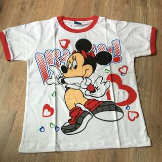 [Size 130/ 140] Minnie Mouse Character Tshirt Red White